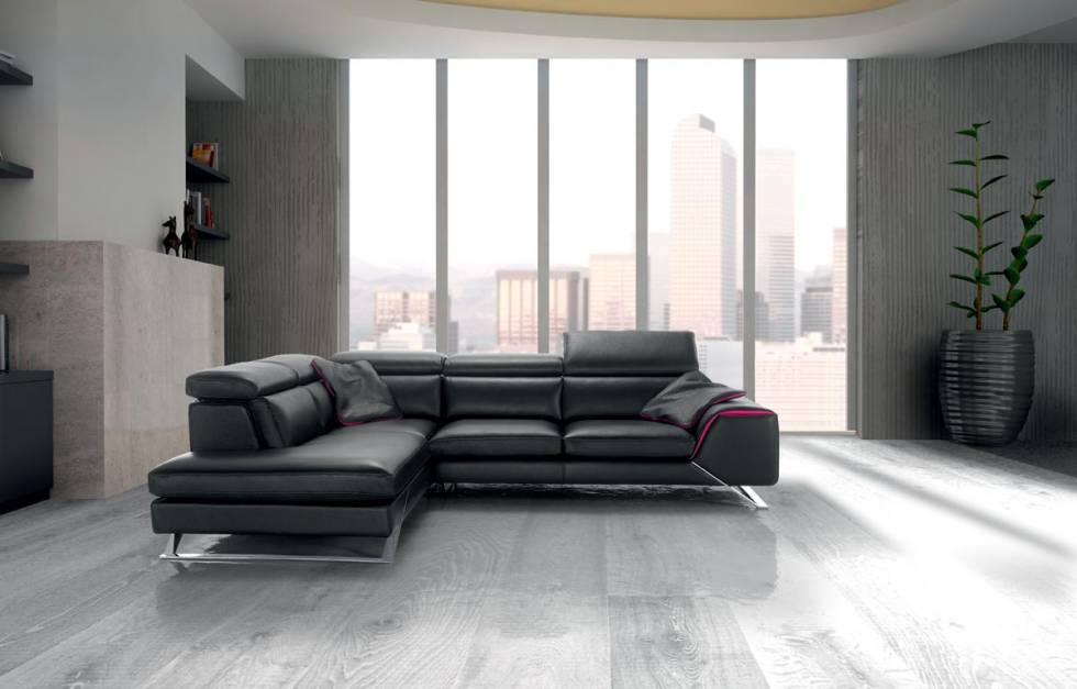 Canap d 39 angle en cuir ou en tissu fixe ou avec relaxation lectrique magasin meubles et - Canape dangle convertible 2 pl cuir beige ...